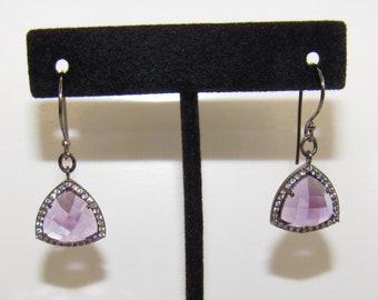 Amethyst Triangle Earrings,Amethyst Black Gold,Amethyst Triangle earrings,15.5 mm Gem,Purple Faceted Amethyst,CZ Bezel set,Amethyst CZ stone