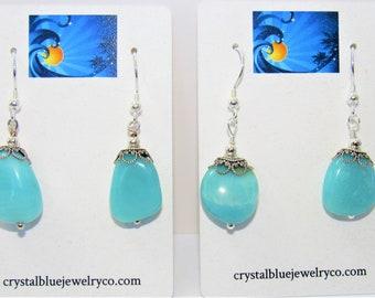 Aquamarine Stone Earrings,Aquamarine silver bead,Polished Aquamarine gemstones,Silver wires cap beads,Blue stone earrings,Natural Aquamarine