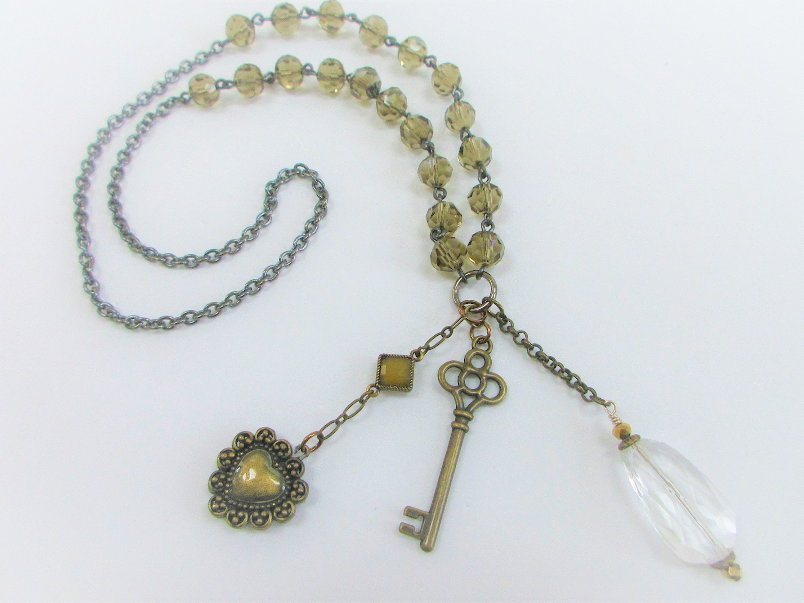 Chandelier Key Heart Olive Crystal Necklaces,Vintage,Handmade,Found object Key Heart Crystal Charms,Repurposed Crystal Glass,Layer Pendants