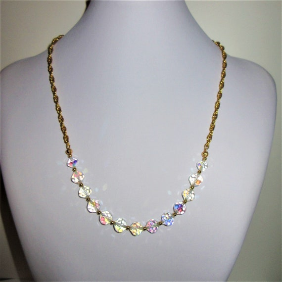 Vintage 13 Crystal Aurora Borealis Bead Necklace, Gold Half - Chain, 22.5 inches long, Re strung with new lobster &Ring, gold beads ,Modern