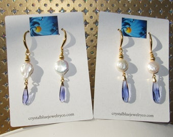 Pearl Coin Earrings,Purple Swarovski,Natural Pearl Earrings,Swarovski Crystal Earrings,Purple Crystal drops,Faceted Swarovski Earrings,Pearl