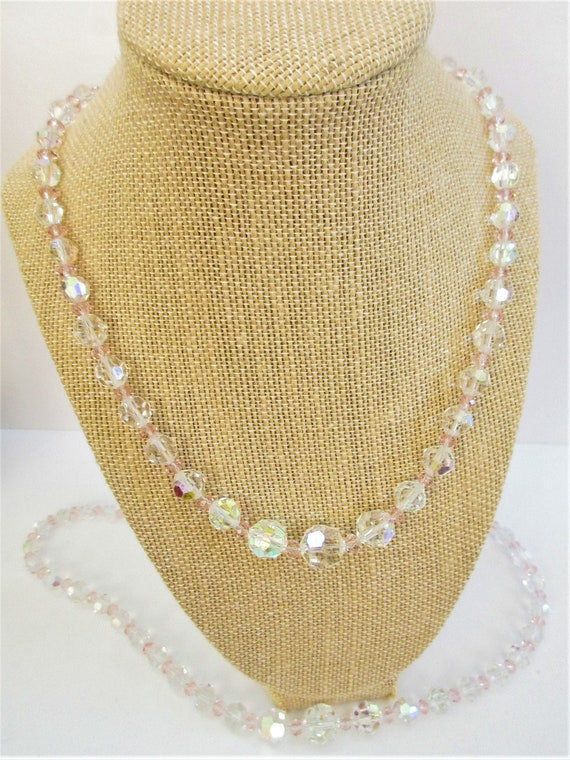 """Faceted Aurora Borealis Crystal Necklace,Pink crystal beads,20"""" or 23"""" ,5-15 mm cut crystals,Vintage beads,Sparkling Rainbow and Pastel Pink"""