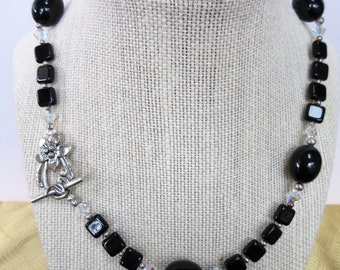 """Black Bead Choker,Black Glass Necklace,silver necklace clasp,19"""" beads,Aurora bi-cone Crystal,Silver flower toggle,Vintage,black glass olive"""