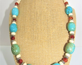 Turquoise Silver Necklace,Large Barrel Genuine Turquoise,Carnelian Beads,Howlite Rondelles,Variegated Vintage Turquoise,Vintage Asian Beads