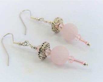 Rose Quartz Earrings,Zebra silver disc,pink faceted crystals,pink tube crystal beads,pink silver earrings, steel earwires,pink grey earrings