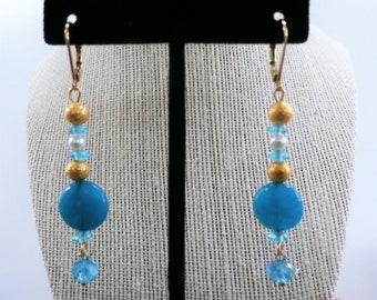 Blue Gold bead Earrings, Swinger bead earrings,glass pearl,crystal,gold metal, bead gold pierced earrings,only one pair,Blue bead earrings