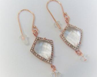 Rose Gold Crystal,Crystal pierced earrings,Copper earwires,Bezel Shield Oval earrings,2 designs,CZ framed dangles,Faceted Brystal cabochons,