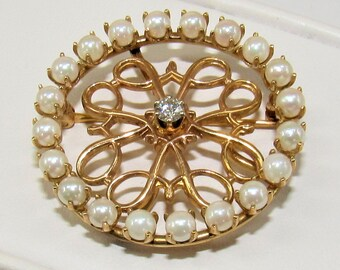 Gold Pearl Diamond Pin, Avon Pin,14K Gold Pin,Circle pin,circle pearl pin,diamond pearl pin,Manager Pin,pearls diamond pin,gold diamond pin