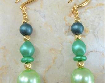 Green Glass Pearl Bead Earrings, Czech glass green pearls,14k gold hook earrings,Green Goddess pearls, multi-green, 3mm-16x12mm mixed shape