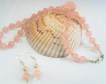 """Rose Quartz Bead Necklace, Pink Champagne Beads, 24"""" Pink crystal necklace Earring set,Sterling hook, matching earrings, silver ball bead"""