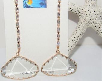 Sparkling Crystal Earrings,Clear Triangle earrings,crystal drop earrings