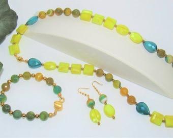 Summer stone Jewelry,citrus Jewelry set,Organic gemstones,Necklace Bracelet earrings,Agates,gold bead summer,Beach jewelry,sun