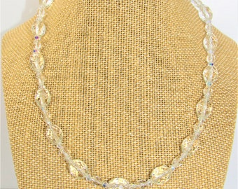 Clear Crystal Bead,Necklace,Crystal Necklace,Olive Cut Crystal,Faceted Lead crystal,Vintage Crystal Bead,Vintage Necklace,Aurora Borealis,