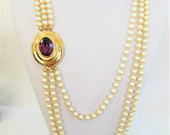 """Triple Strand Pearls,Amethyst clasp,over 240 8mm superior glass cream pearl,w/Gorgeous 25 X 19 mm Gold Bevel Amethyst clasp,Hand Knotted 34"""""""