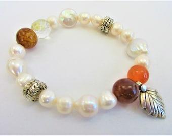 Large Pearls Bracelet,Mixed Gemstone Bead Stretch, Large Baroque Genuine Pearls,2 silver discs & leaf,Agates,Carnelian,Glass Balls,Artisan