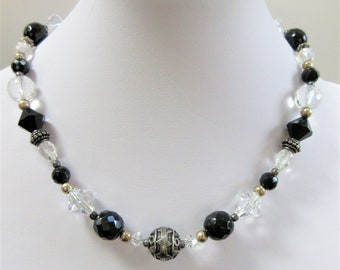 Vintage Faceted Crystals,Black Crystal Choker,Choker Necklace,Black Clear Beads,17 inch length,Sterling toggle,Sparkling Crystals,showpiece
