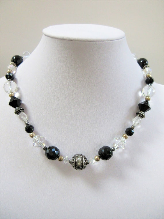 Faceted Crystals Black and Clear Choker, 17 inch with Sterling toggle clasp, Chunky sparkling Crystals, Multi shaped beads, a showpiece!