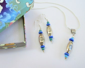 Sterling Silver Bead Earrings Pendant,Southwestern stamp silver w/MO Pearl,stone, glass beads,Sterling earwires, chain,bail,sold seperate