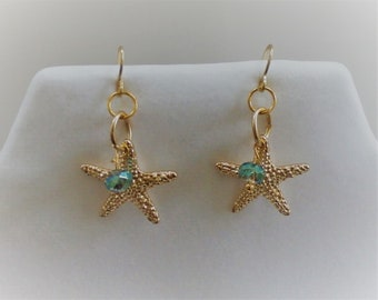 Catch a Falling Star - Starfish earrings with crystal gold filled pierced wire