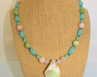 Pastel Gemstone Necklace,Pearl teardrop necklace,Pastel agate Necklace,Pearl Beaded Choker,Pearl necklace,Blue gemstones,Chalcedony necklace