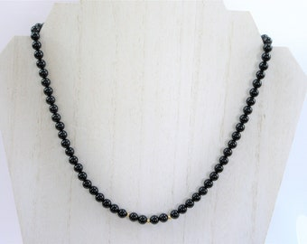 Men's Onyx Necklace,18.5 inch bead necklace,gold accent beads,Men's Black necklace,Onyx bead necklace,Unisex,Only One,Men's gift,Groom gift