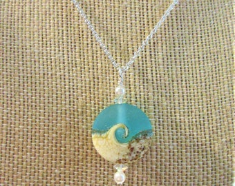 """Beach Wave Pendant,Large Teal Frost  Glass,Sandy Beach Wave,2 Pearls,2 Vintage Faceted Crystal,Choice of 18""""/20"""" Sterling Chain,or No Chain"""