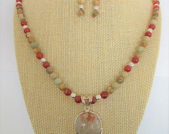 "Fossil Coral Rainbow Jasper Bead Set,6 mm Rainbow Jasper Agate & Carnelian Silver bead Necklace,w/Carnelian Fossil Coral pendant,2"" Earrings"