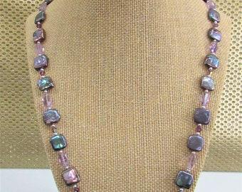 Square Freshwater,Peacock Pearls,Purple Pearls,Pearls Silver Beads,Swarovski Crystal, Purple Amethyst, plum Pearls,Square Blister Pearls