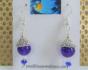 Round Amethyst,Silver Earrings,Vintage caps,vintage silver caps,silver earrings,8 mm amethyst ball,Genuine amethyst.pierced earrings,Pretty