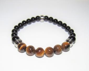 Men's Bracelet,Black Glass bead,Tiger Eye Quartz,Black Glass,Tiger Eye,Stretch Stainless,Unisex Bracelet,Bead bracelet,Steel Beads,One Size
