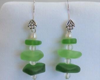 Green Glass bead earrings, Sea-glass Earring Stacks - Pebble Beach -Flower fishhook earrings, tri-glass stacked w clear glass beads,pearl