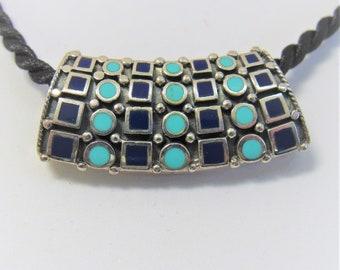 Pendant Slide,Sterling Silver slide,Turquoise Lapis Lazuli inlay,40 X 15 mm,Slide Pendant,Gemstone Slide,Necklace Scarf Slide,.925,Vintage