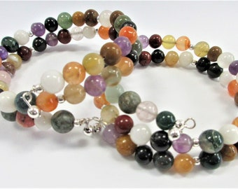 Colorful Gemstone Bead memory wire bracelet,50 beads each, 13 Sterling beads,Fits any size wrist or ankle,Amethyst Carnelian Rose Quartz etc