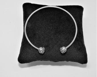 """Silver bracelet,silver,cuff,silver bangle,small silver bracelet,7"""" bracelet,Heavy memory silver,Silver flower end bead, cuff wire bracelet"""