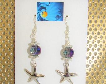 Sterling Starfish,Silver Star Earrings,Crystal Ball Earring,Crystal BallSilver Pierced,Sparkling Crystal ball,Lavender Crystal ball,Starfish