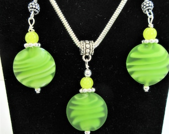 Lime Green,Lime Glass,Lamp work Glass,Earring Pendant set,Lime frosted bead,Green Earrings,Glass Earrings, Lemon Lime,Handmade Glass,Lemon