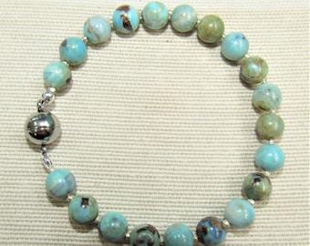 Terra Agate Bracelet,Blue Brown Bead,Tiny Sterling Spacer,Agate bracelet,Magnet Close Bracelet,Agate Bracelet,blue 6mm bead,Polished Agate