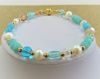 """Amazonite Pearl 14K Gold and Crystal bead bracelet,8 inch"""" Aqua white w/gold magnet, Hand wired on Jewelers wire, all new beads,4-6 mm beads"""