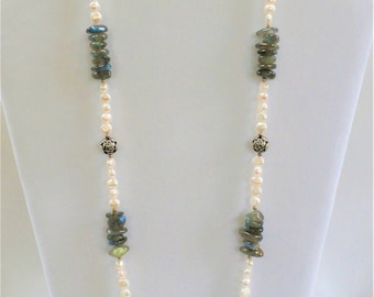 Honora Pearl Necklace,cultured Pearl,Labradorite necklace,Sterling rose bead,Excellent quality pearls,Smooth silky pearls,Highly polished