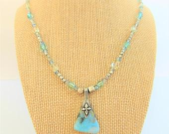 "Larimar Pendant,Pewter Cross,20""Pendant,Beaded Crystal Ovals,Pewter cube beads,Sterling Larimar Pendant,Aqua Bead Chain,Renaissance Necklace"