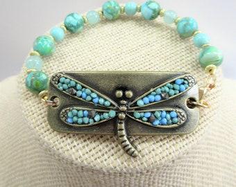 Dragonfly Bracelet,Wrist Tag Bracelet,Dragonfly beaded Bracelet,One of a Kind design,Teal beads,Turquoise,gold metal beads,Brass Dragonfly