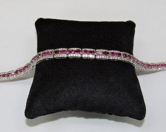 Pink Tourmaline,Pink Bracelet,Silver Tourmaline,White Zircon,Tennis Bracelet,Vintage Bracelet,Vintage Pink,Tourmaline Jewelry,Fine Jewelry