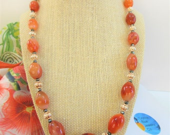 Large Oval Carnelian Beaded 22 inch Handmade Necklace,Rosegold Spacer Beads,Charcoal faceted Crystals.14K Gold Lobster claw,countless carats