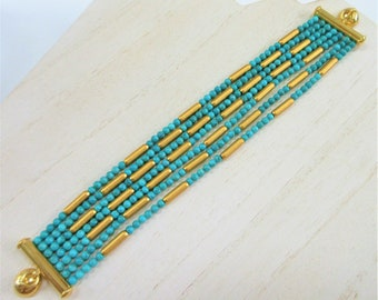 Bronzo Gold & Turquoise bead wide bracelet - Genuine Turquoise beads, and solid bronze plating magnetic bracelet, size large, Designer Look