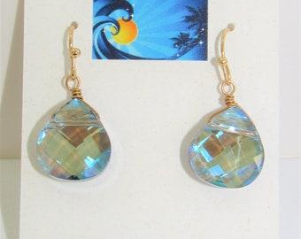 Faceted Teardrop Earrings,Pastel Blue Earrings,Cut CrystalEarrings,Teardrop Glass Earrings,Sparkling Crystals,Teardrop Pierced ER,Quality