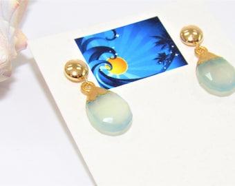Gold Chalcedony earrings,Blue Chalcedony earrings,Pale blue chalcedony,Gold setting Chalcedony,Blue pierced Earring,aqua gem post earring