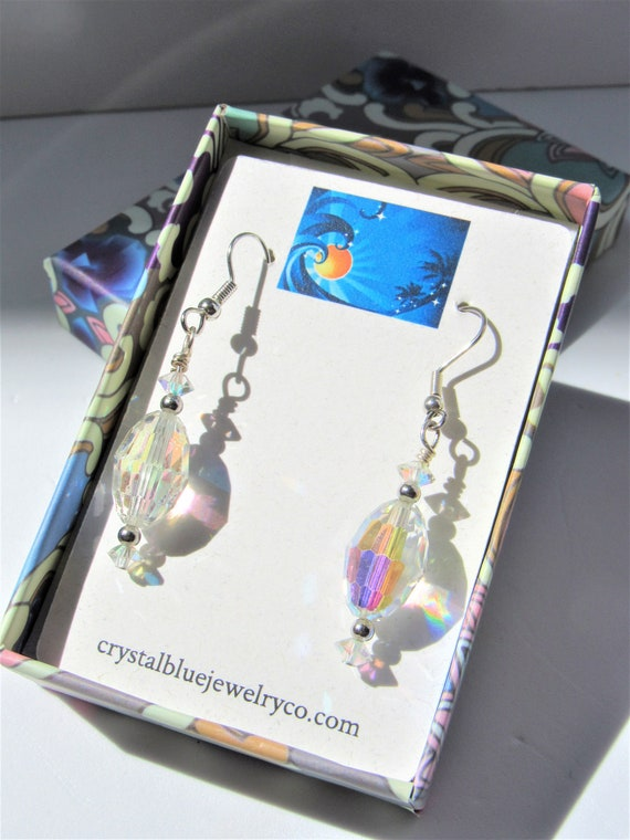 Vintage Aurora Borealis Crystal Earrings,Oval Barrel shape crystals,w/ silver beads and ear wires, aurora Borealis discs, Sparkling Glamour