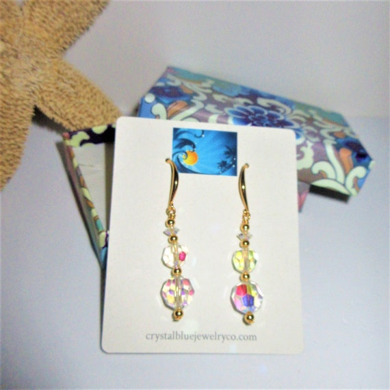 Sparkling Crystal Aurora Borealis Earrings,Variegated Size Vintage Beads,New gold plated spacer beads,Fresh wired w/ 14K gold Hook Earwires