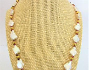 """White Baroque Pearl Garnets 14K Gold Necklace,Renaissance opulent 21"""" NK,Genuine Pearls Red Garnet beads,14K gold Flower toggle,solid beads"""