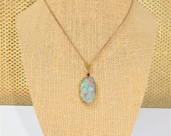 Larimar Pendant,Oval Larimar,Garnet stone,Caribbean Blue stone,Peach, Natural Larimar, 14K Gold Plated,wrapped frame,Gold Plated Chain incll